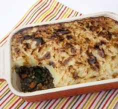 Lentil Shepherd's Pie - Shepherd's Pie was a staple of my British childhood. This is real comfort food for cold, damp English winter afternoons and long winter nights -- American ones, too! I don't miss the meat in this tasty dish, and I bet nor will you. French lentils hold their shape and have meatiness to them. Instead of the traditional peas, I've used chopped mustard greens. The Worcestershire sauce and Tabasco give the pie richness rather than heat. You could use any ...