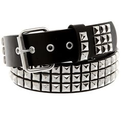 Three Row Pyramid Belt Hot Topic ($19) ❤ liked on Polyvore featuring accessories, belts, pyramid belt, studded belt and pyramid stud belt