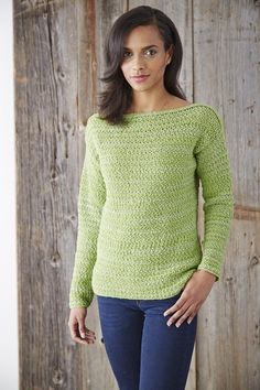 Boat Neck Pullover Crochet Pattern with long sleeves. A timeless Spring classic, this boat neck pullover has a bit of added sparkle, crocheted in Patons Glam Stripes. Find the free crochet sweater pattern here: link Crochet Cardigan, Crochet Shawl, Cardigan Pattern, Knit Crochet, Crochet Sweaters, Crochet Tops, Crochet Jumper Free Pattern, Crochet Jumpers, Crochet Summer Tops