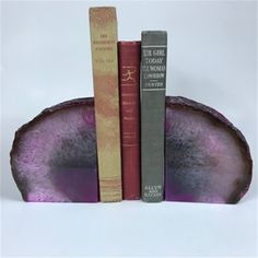 Set of 2 Polished Agate Geodes Bookends Geode Bookends, Brazilian Agate, Agate Geode, Petrified Wood, Agates, Rocks And Minerals, Stone, Pink, Rock