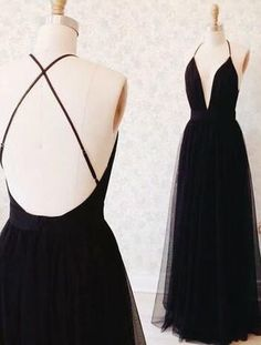 Elegant A Line V Neck Backless Black Tulle Long Prom Dresses, Formal Evening Dresses