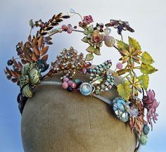 Modern bridal tiara made from vintage pieces.