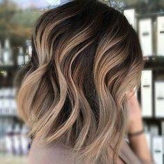 Gorgeous Brown Hairstyles with Blonde Highlights: Blunt Ashy Brown Lob with Cool Blonde Balayage