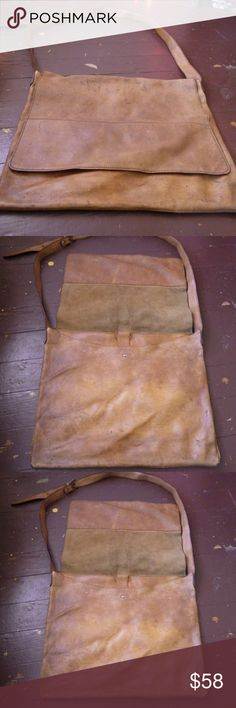 Genuine Leather Tan Hide Shoulder Bag Satchel I bought this at a novelty market in Sichuan Province, China. It is quality material. Notice Small defect in bottom right corner. Perfect carrying case for laptop, notebooks or general items. Bags Satchels