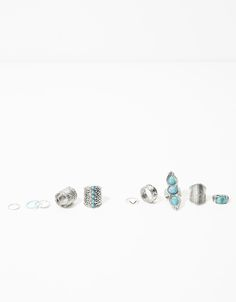 Blue stone boho rings (set of 10) - Accessories - Bershka United Kingdom