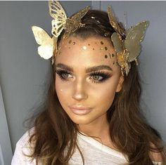 Halloween Makeup Ideas: Gold Fairy Queen #Fantasymakeup #fairymakeup