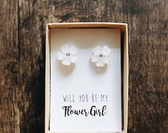 White Flower and Crystal Flower Earrings   Flower Girl Proposal   Pink Pearls   Will you be my   Tie the Knot   Bridesmaid Proposal