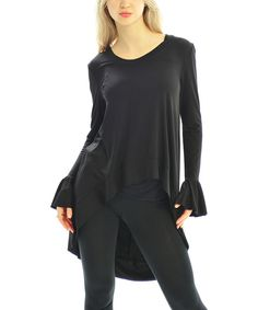 Take a look at the Black Bell-Sleeve Hi-Low Tunic on #zulily today!
