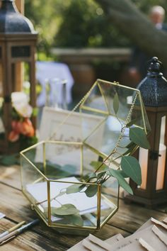 glass BHLDN conservatory card box from Lucky Day Events Co. Table Decoration Wedding, Gift Table Wedding, Card Box Wedding, Diy Wedding, Wedding Gifts, Table Decorations, Wedding Things, Wedding Ideas, Boho Vintage