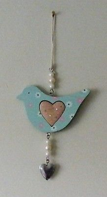 NEW Shabby Chic Blue Wooden Bird with Heart & Daisy Hanging Decoration FREE P&P
