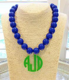 Items similar to Monogram Necklace: Oversized Beads with Acrylic Pendant on Etsy Monogram Jewelry, Monogram Necklace, Monogram Letters, Diy Jewelry, Jewelery, Jewelry Ideas, Chunky Bead Necklaces, Chunky Beads, Beaded Necklace
