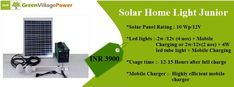 We have designed this Home solar power off grid rural kit controller box which is best suited for Solar Solutions of Rural area with rugged designing and having capacity of 7Ah/12V SMF solar battery can provide Solar Light back up of up to 15 hours Call Us NOW +91-999-939-5695 or mail info@greenvillagepower.com