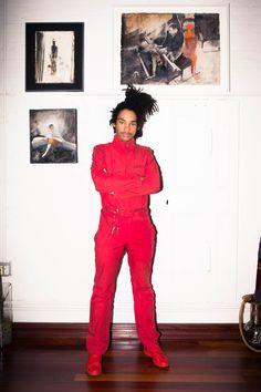 Luka Sabbat, Red Raf Simons Jumpsuit, Closet, Long Hair | coveteur.com Dreadlocks Men, Gorgeous Black Men, Beautiful Men, All Fashion, Fashion 2020, Mens Fashion, Just Style, Sabbats, Red Jumpsuit