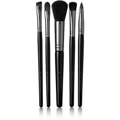 Illamasqua Set of Five Makeup Brushes ($120) ❤ liked on Polyvore featuring beauty products, makeup, makeup tools, makeup brushes, black, black makeup brushes and illamasqua