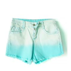 Ombre Denim Shorts ($14) ❤ liked on Polyvore featuring shorts, bottoms, highwaist shorts, high-waisted denim shorts, high-rise shorts, cuffed denim shorts and high waisted jean shorts