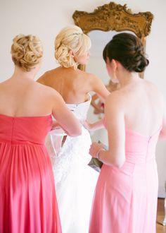 Bride and bridesmaids wedding hair