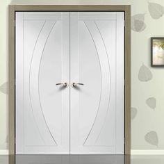 Salerno White Primed Oak Flush Door Pair. #whiteflushdoor #internalwhiteflushdoor #whitefrenchdoors
