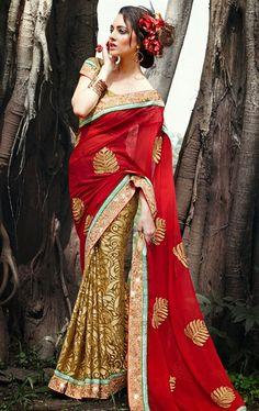 Deep Cream and Marron Indian Traditional Saree IDE97525849 - www.indianwardrobe.com