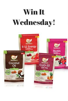 Enter to win one of these great-tasting soft chew supplements from Healthy Delights Naturals: B-12 Energy, Coconut Oil, Biotin, and CoQ10! Go to facebook.com/AmazingWellness/ for details.