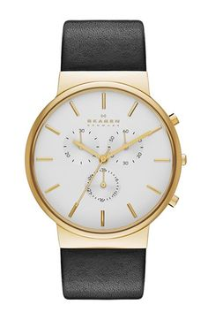 Skagen 'Ancher' Chronograph Leather Strap Watch, 40mm available at #Nordstrom