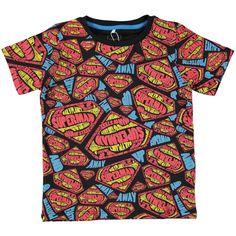 Zwart shirt van Name It met ronde hals en all-over 'Superman' print | Olliewood