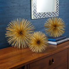 Set of 3 Gold Starburst Decorative Accents © Two's Company