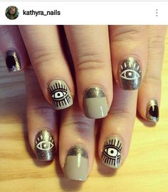 taupe + gold eye nail art - by: trophy wife nails. - taupe + gold eye nail art - by: trophy wife nails. Get Nails, Love Nails, How To Do Nails, Pretty Nails, Hair And Nails, Evil Eye Nails, Cat Eye Nails, Cute Nail Art, Beautiful Nail Art