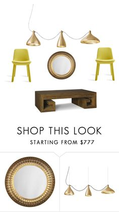 Brass and Yellow by matthewsfav on Polyvore featuring interior, interiors, interior design, home, home decor, interior decorating, Jonathan Adler and Blu Dot