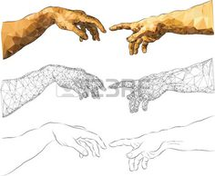 Michelangelo s near touching hands of God and Adam Stock Vector
