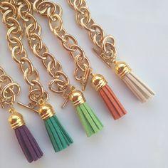 Tassel Bracelets - Jcrew Inspired. $12.00, via Etsy. Preppy plum, kelly green, lime green, burnt orange, and cream.