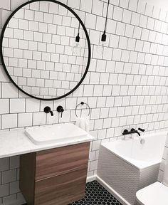 Gorgeous black, white and walnut bathroom with oversized round mirror: Umbra HUB Mirror. Photo by Bathroom Inspiration, Umbra, Mirror Powder, Bathroom Makeover, Girls Bathroom, Round Mirror Bathroom, Black Mirror, Glass Mirror, Mirror