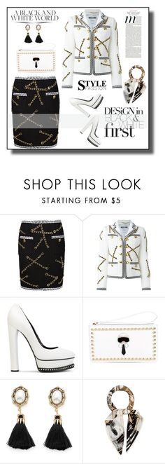 """""""Black and White"""" by outfitsloveyou ❤ liked on Polyvore featuring Moschino, Casadei, Fendi and Hermès"""