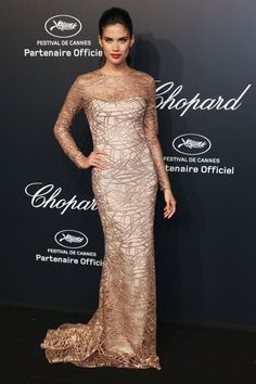 Sara Sampaio in Blumarine. See all the looks from Chopard's Gold Party at Cannes.