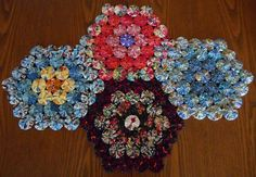 Four Large Yoyo Hexagons Table Runner by RevisionsDesigns on Etsy
