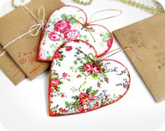 2 Wooden Hearts with flower pattern Set by CrossStitchCardStore