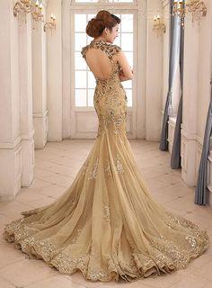 apliques sirena cuello alto vendimia backless vestido de noche de encaje -up Vestidos de noche de la vendimia- ericdress.com 10994239