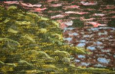 Felted Abstract Sunset at the Lake by KCJohnstonOriginals on Etsy, $125.00
