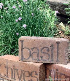 Got bricks?? Use this idea for marking herbs and other plants.