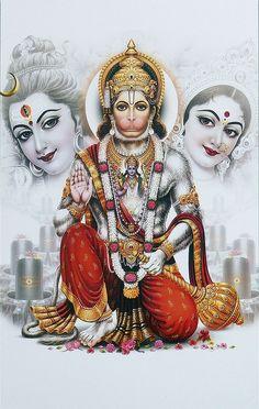 Hanuman with Shiva and Parvati (Reprint on Paper - Unframed) Hanuman Photos, Hanuman Images, Hanuman Chalisa, Shiva Hindu, Hindu Deities, Shiva Shakti, Hindu Art, Shiva Art, Krishna