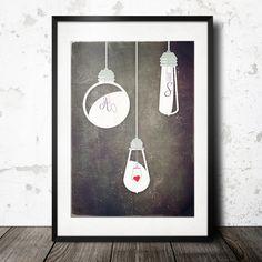 Eure Initialen in Glühbirnen ::: Viele Größen von MR & MRS DRUCK auf DaWanda.com
