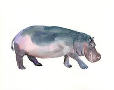 HIPPO by DIMDI Original watercolor painting 10X8inch by dimdi