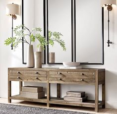 RH's Metal Beveled Mirror:Our sleek metal frame has a clean finish and minimalist detail for a modern, live-anywhere sensibility. Style At Home, Entryway Decor, Wall Decor, Entryway Mirror, Console Table Mirror, Extra Long Console Table, Modern Entryway, Modern Staircase, Entryway Ideas