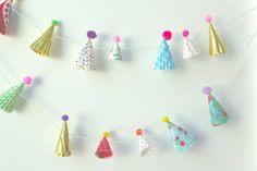 mini party hat garland by chiarabelle on Etsy
