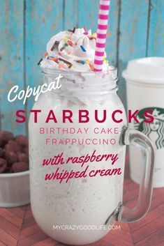 Do you miss the limited edition birthday cake frappuccino? Here's my recipe for a copycat Starbucks Birthday Cake Frappe–with raspberry whipped cream!