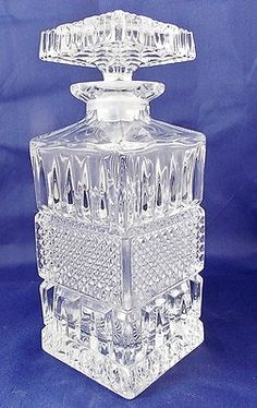 24% Lead Crystal Glass Decanter Square Whiskey Scotch