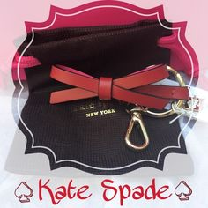 Red Leather Kate Spade Bow Keychain 🎀Cute, colorful Kate Spade bow keychain🎀 Red leather with Pink Leather on the inside. Gold hardware including a king ring, a lobster clasp and a tiny Kate spade logo charm. Comes with a dust bag. Does not come with the store bag - in picture to show authenticity kate spade Accessories Key & Card Holders