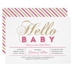 Modern Gold | Girl Baby Shower Invitation - cyo customize create your own #personalize diy