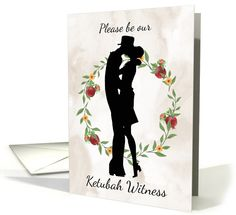 Be our Ketubah Witness with flowers and Silhouette card (1399912)