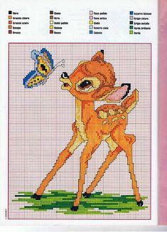 free cross stitch patterns Disney bambi | Bambi with a butterfly cross stitch…