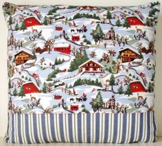 Large Alpine scene Pierre Frey French Ticking by Retrocollects